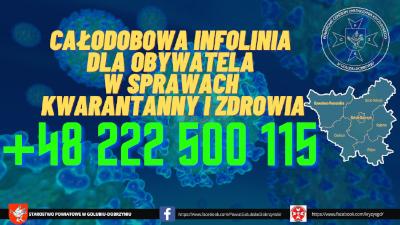 Całodobowa infolinia dla obywateli w sprawach kwarantanny i zdrowia +48 222 500 115