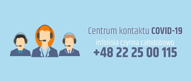 Centrum kontaktu COVID-19. Infolinia czynna całodobowo +48 22 25 00 115