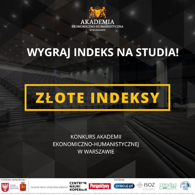 Konkurs dla maturzystów o Złote Indeksy - plakat informacyjny