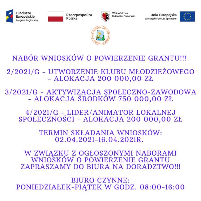 Nabór wnioskór nr 2/2021G, 3/2021/G I 4/2021/g